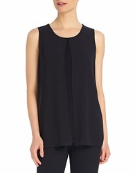 Ellen Tracy Georgette Overlay Shell Black