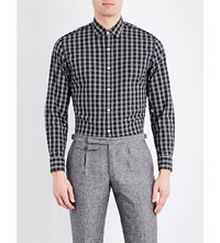 Hardy Amies Madras Check Casual Fit Spread Collar Cotton Shirt Black White