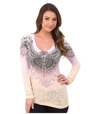 Affliction Aviana Long Sleeve V Neck Tee Purple Peach Burnout Dip Dye Women's Long Sleeve Pullover Pink