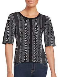 Saks Fifth Avenue Black Patterned Elbow Sleeve Top Black Bleach