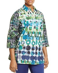 Marina Rinaldi Biscotto Watercolor Geo Print Blouse White