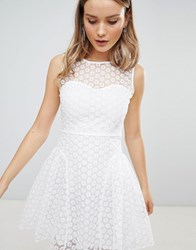Zibi London Crochet Skater Dress White
