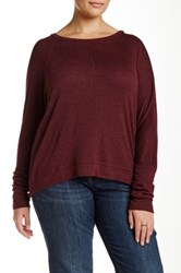 Heather By Bordeaux Long Sleeve Dolman Ribbed Tee Plus Size Red