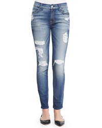 7 For All Mankind The Ankle Skinny Fit Destroyed Jeans