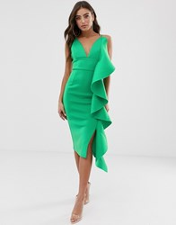 Lavish Alice Draped Frill Scuba Midi Dress In Green