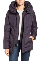Larry Levine Women's Pillow Collar Quilted Coat Plum