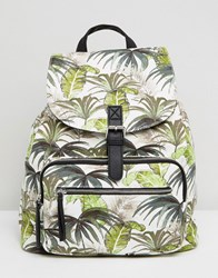 New Look Palm Print Canvas Backpack White Pattern