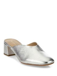 Loeffler Randall Lulu Metallic Leather Block Heel Mules Silver