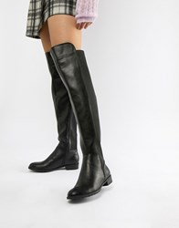 London Rebel Elastic Flat Over Knee Boot Black Pu