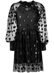 Msgm Polka Dot Tulle Dress Black