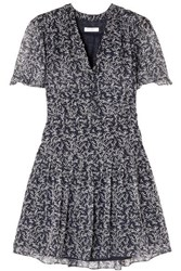 Equipment Lisle Floral Print Silk Chiffon Mini Dress Navy