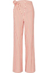 Rosie Assoulin Top Knot Striped Linen And Cotton Blend Pants Red