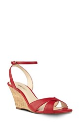 Nine West Women's Kami Ankle Strap Wedge Sandal Red Leather