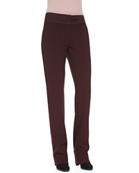 Rena Lange Straight Leg Trousers With Satin Waistband Women's