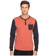 Primitive Pocket Arch Long Sleeve Henley Cardinal Heather Men's Clothing Red