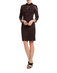 Trina Turk Collared Floral Lace Dress Black Red