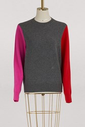 C Line Crew Neck Sweater In Colour Block Wool Grey Red Pink