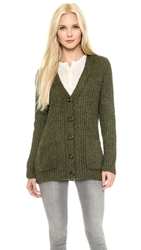 Anine Bing Loose Fit Knit Cardigan Olive