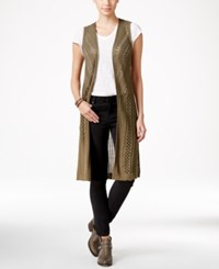 It's Our Time Juniors' Crocheted Open Front Maxi Vest Od Green