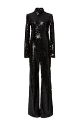 Christian Siriano Sequin Long Sleeve Jumpsuit Black