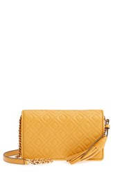 Tory Burch Fleming Leather Wallet Crossbody Yellow Daylily