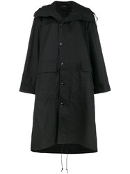 Y's Hooded Mid Length Coat Black