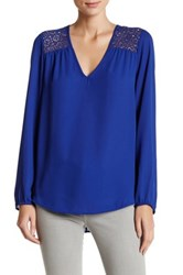 Daniel Rainn Crochet Blouse Blue