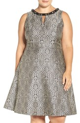 London Times Plus Size Women's Embellished Jacquard Fit And Flare Dress