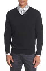 Men's Peter Millar Tipped Cashmere Blend V Neck Sweater Black