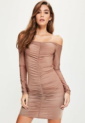 Missguided Pink Slinky Ruched Front Bardot Long Sleeve Midi Dress