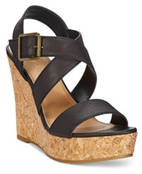 Rampage Happy Platform Wedge Sandals Women's Shoes Black