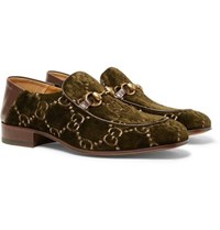 Gucci Horsebit Collapsible Heel Leather Trimmed Embroidered Velvet Loafers Army Green