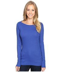 The North Face Long Sleeve Ez Ribbed Top Bright Cobalt Blue Dark Heather Women's Long Sleeve Pullover