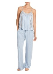 In Bloom Two Piece Seashore Stripe Pajama Set Blue