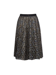 Marc Jacobs Metallic Floral Brocade Pleated Skirt