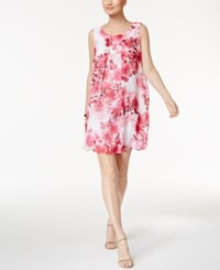 Connected Petite Floral Print Trapeze Dress Pink Multi