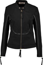 Marni Leather Trimmed Cotton Twill Jacket Black