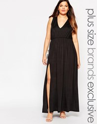 Truly You Plunge Front Sleeveless Maxi Dress Black