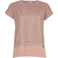 River Island Womens Light Pink Mesh Layered T Shirt