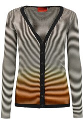 Missoni Striped Knitted Cotton Blend Cardigan Gray
