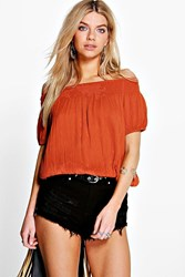 Boohoo Woven Crinkle Short Sleeve Top Burnt Orange