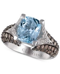 Le Vian Aquamarine 2 1 2 Ct. T.W. Chocolate Diamond 1 Ct. T.W. And White Diamond 1 5 Ct. T.W. Ring In 14K White Gold