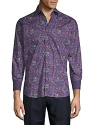 Bertigo Printed Cotton Button Down Shirt Purple