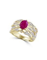 Effy Amore 14K Yellow Gold Ruby And Diamond Ring 0.31 Tcw Pink