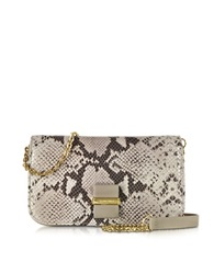 See By Chlo Rosita Printed Python Leather Smart Wallet Clutch Beige