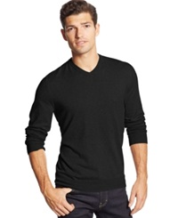 Club Room Cotton Cashmere Blend V Neck Sweater Deep Black