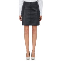 Barneys New York Leather A Line Skirt Black