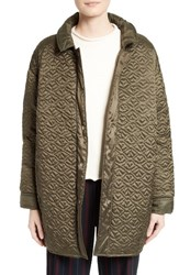 See By Chloe Women's Quilted Coat Army Green