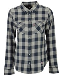 Levi's New York Yankees Buffalo Western Button Up Shirt Navy Gray
