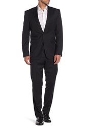 Vince Camuto Black Striped Two Button Notch Lapel Wool Slim Fit Suit